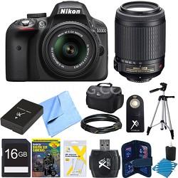 D3300 24.2 MP Digital SLR Black w/ 18-55mm and 55-200mm Lens REFURBISHED Bundle