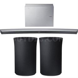 4.1 Channel Curved Wireless Soundbar White w/ 2x Radiant R1 Bluetooth Speaker