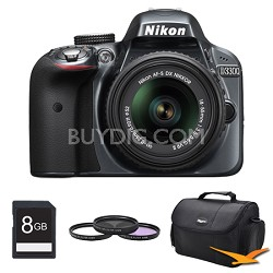 D3300 DSLR 24.2 MP HD 1080p Camera with 18-55mm Lens Grey Kit