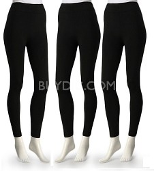 3-Pack Midnight Black Fleece Lined Leggings XL/XXL