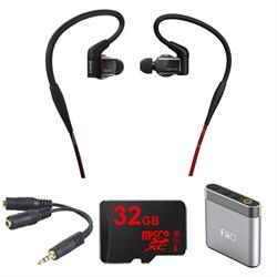 Hybrid 3-way  In-Ear Headphones - Black  w/ Amplifier Bundle