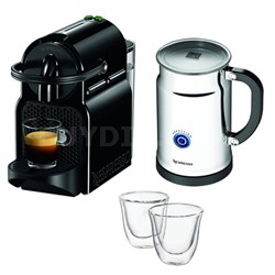 Inissia Espresso Maker with Aeroccino Plus Milk Frother Bundle w/ 2 Glasses