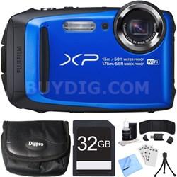 FinePix XP90 16 MP Waterproof Digital Camera Blue 32GB SDHC Card Bundle