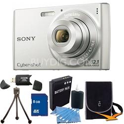 Cyber-shot DSC-W510 Silver Digital Camera 8GB Bundle