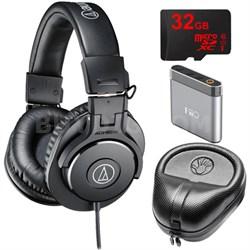 ATH-M30x Professional Headphones w/ Slappa Case, 32gb Micro SD & A1 Amp Bundle