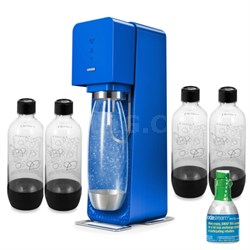 Source Soda Maker (Metal) in Blue with Exclusive Kit w/ 4 Bottles & Starter CO2