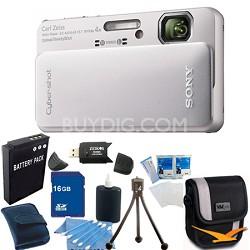 Cyber-shot DSC-TX10 Silver Digital Camera 16GB Bundle