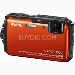 COOLPIX AW110 Waterproof 16MP Camera w/ WiFi & GPS (Orange) Factory Refurbished