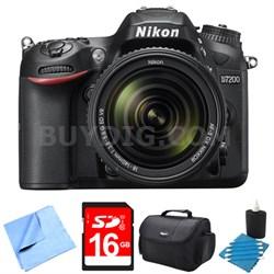 D7200 DX-format Black Digital SLR Camera Kit w/ 18-140mm VR Lens 16GB Bundle