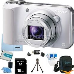 Cyber-shot DSC-HX10V (White) 18.2 MP 16x Zoom 3D Sweep HD Video with 16GB Bundle