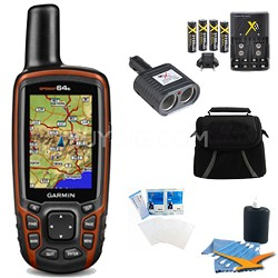 GPSMAP 64s Worldwide Handheld GPS with 1 Year BirdsEye Plus Accessory Bundle