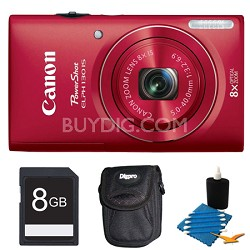 PowerShot ELPH 130 IS Red 16MP Digital Camera 8GB Bundle