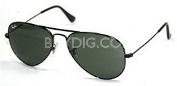 Aviator Large Metal Sunglasses Black 55mm
