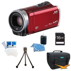 GZ-EX310RUS - HD Everio Camcorder 40x Zoom f1.8 (Red) with 16GB Bundle