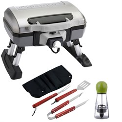 Portable Electric Grill with Carteret BBQ Apron tool & Spice Mill