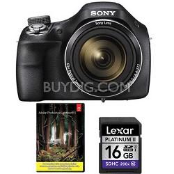 DSC-H400/B 63x Optical Zoom 20.1MP HD Video Digital Camera + Adobe LR5