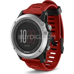 fenix 3 Multisport Training GPS Watch - Silver with Red Band
