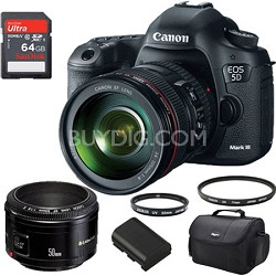 EOS 5D Mark III 22.3 MP Full Frame CMOS SLR Camera 24-105mm Lens Prime Kit