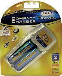 Mini Travel Charger with 2 AA NMH Rechargeable Batteries