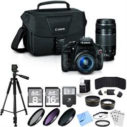 EOS Rebel T5 18MP DSLR Camera EFS 18-55mm + EF 75-300mm Lens Ultra 4 Lens Bundle