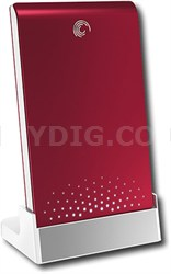 FreeAgent Go 640GB External USB 2.0 Portable Hard Drive - Ruby Red - OPEN BOX
