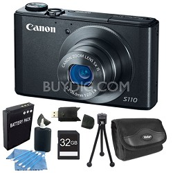 PowerShot S110 Black Compact High Performance Camera 32GB Bundle
