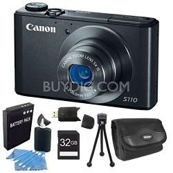 PowerShot S110 Black Compact High Performance Camera 32GB Bundle