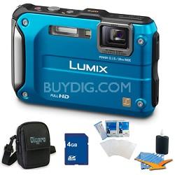Lumix DMC-TS3 Blue Shockproof Freezeproof Dustproof Camera 4GB Bundle