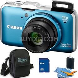 PowerShot SX230 HS Blue Digital Camera 4GB Bundle