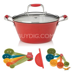 5-Quart Cast Iron Red Lite Soup Pot with Lid, Measuring Sets and Drainer Bundle