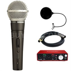 Cardioid Dynamic Microphone with On/Off Switch w/ Interface Bundle