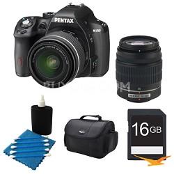 K-50 Digital SLR Camera Zoom Kit w/ DA L 18-55mm & 50-200mm Lens BLK 16GB Bundle