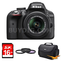 D3300 DSLR 24.2 MP HD 1080p Camera with 18-55mm Lens Black Kit