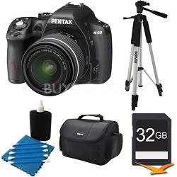 K-50 Black w/ 18-55mm Lens 16MP Digital SLR Camera Kit 32GB Bundle