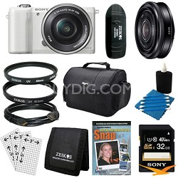 a5000 Compact Interchangeable Lens Camera White 16-50mm & 20mm F2.8 Lens Bundle