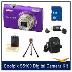 COOLPIX S5100 Purple Digital Camera Kit w/ 8 GB Memory, Reader, Tripod, & More