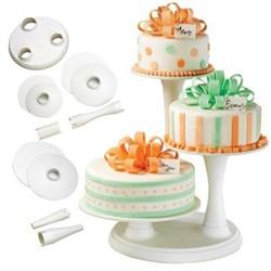 3 Tier Pillar Cake Stand Wht