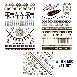 Vibrant Chic Colored Jewelry Tatt Set (purple/silver/gold) with Bonus Nail Art