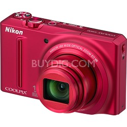 COOLPIX S9100 12MP Red Digital Camera w/ 18x Optical Zoom