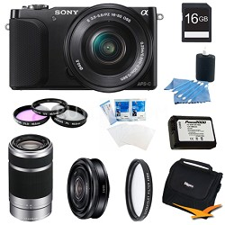 NEX-3NL Black Digital Camera 16-50mm Lens 16GB 55-210mm, 20mm f/2.8  Lens Bundle