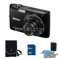 COOLPIX S4100 14MP Black Digital Camera 4GB Bundle