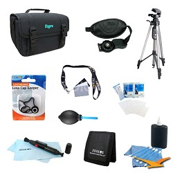 10 Piece Accessory Kit for SLR Cameras w/ Full Size Tripod, Deluxe Case & More