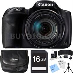 PowerShot SX540 HS 20.3MP Digital Camera w/ 50x Optical Zoom 16GB Card Bundle