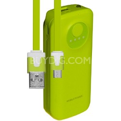 5200mAh Neon Power Battery Bank with USB Charging Cable in Green