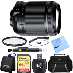 18-200mm Di II VC All-In-One Zoom Lens for Nikon Mount 64GB Memory Card Bundle