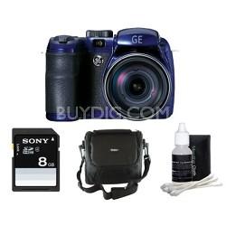 Power Pro 16MP 15X Zoom Digital Camera w/ 27mm Lens 4 Piece Bundle - Blue