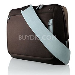 "Messenger Bag for Notebooks  up to 15.4"" Brown / baby Blue"