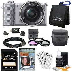 a5000 Compact Interchangeable Lens Camera Silver 16-50mm Power Zoom Lens Bundle