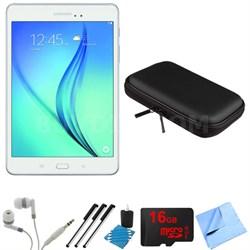 Galaxy Tab A SM-T350NZWAXAR 8-Inch Tablet (16 GB, White) 16GB Memory Card Bundle