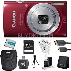 PowerShot ELPH 135 16MP 8x Optical Zoom Digital Camera Red Kit